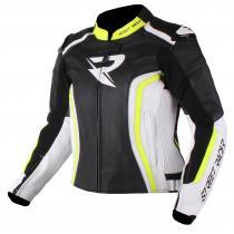 Dámská bunda na motorku Street Racer Adrianne černo-bílo-fluo žlutá wyprzedaż