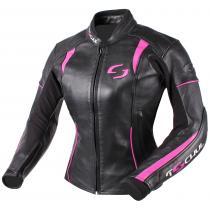 Damska kurtka motocyklowa Tschul 828 czarno-różowa