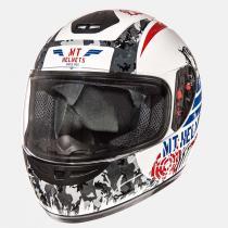 Dziecięcy kask motocyklowy MT Thunder Sniper biało-niebiesko-czerwony