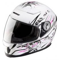Dziecięcy integralny kask motocyklowy NOX N682K Lolly biało-różowo-czarny