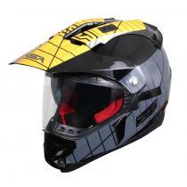 Kask Enduro z blendą przeciwsłoneczną RSA MX-01 czarno/szaro/żółty wyprzedaż
