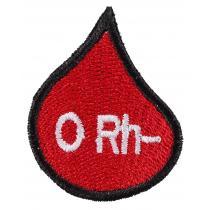 Naszywka z grupą krwi kropla 0 Rh-