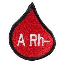 Naszywka z grupą krwi kropla A Rh-