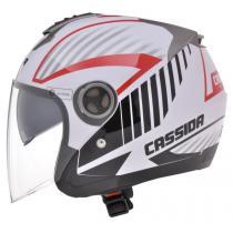 Kask motocyklowy Cassida Magnum – czarno-biało-czerwony