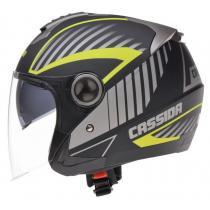 Kask motocyklowy Cassida Magnum - czarno-szaro-fluo żółty