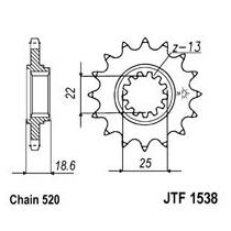 Front sprocket JT 15T, 520 rubber cushioned