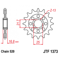 Front sprocket JT 17T, 520 rubber cushioned