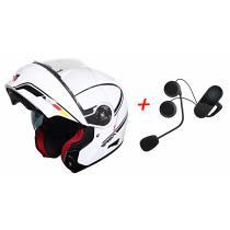 SET: Vyklápěcí přilba na motorku RSA TR-01 + Bluetooth Intercom s FM do přilby