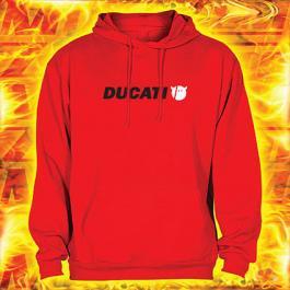 Bluza z motywem Ducati czerwona z kapturem wyprzedaż